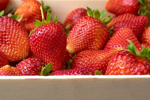 fresh strawberry in wooden box