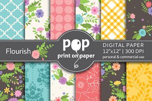 Flourish Floral - 12 digital papers