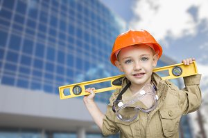 Child Boy Dressed Up as Handyman in