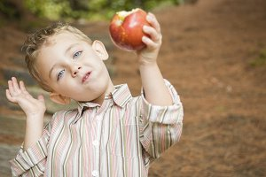 Adorable Child Boy Eating Red Apple