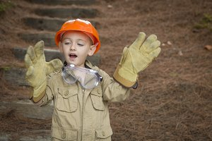 Adorable Child Boy with Big Gloves P