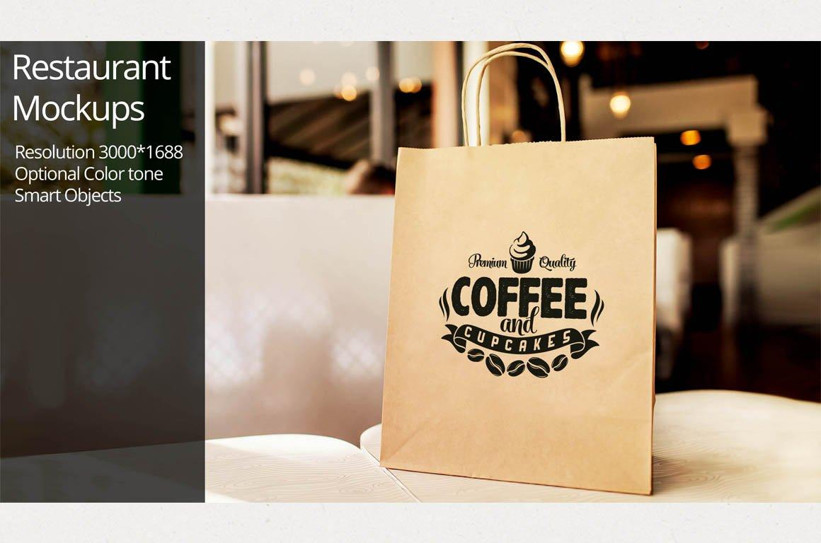 Paper bag mockup restaurant product mockups on
