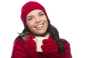 Mixed Race Woman Wearing Winter Hat