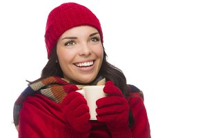 Mixed Race Woman Wearing Mittens Hol