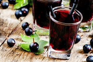 Cold vodka with blackcurrant juice a