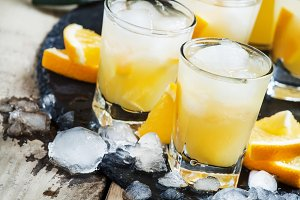 Orange soft drink with juice, vodka