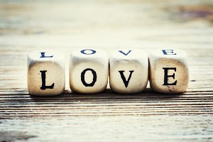 Wooden blocks with the word love, se
