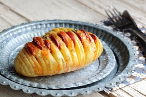 Hasselback potato with chorizo