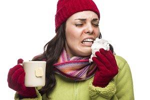 Sick Mixed Race Woman Drinks Hot Tea