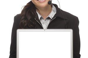 Mixed Race Businesswoman Wearing Hea