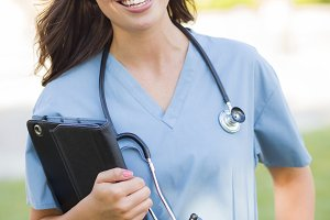 Young Adult Woman Doctor or Nurse Ho