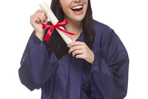 Mixed Race Graduate in Cap and Gown