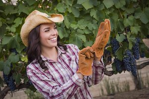 Young Adult Female Wearing Cowboy Ha