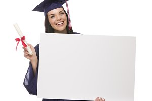 Female Graduate in Cap and Gown Hold