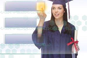 Female Graduate Pushing Blank Button