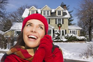 Smiling Mixed Race Woman in Winter C