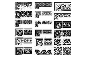 Borders and corners set. Baroque and