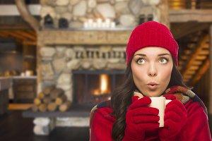 Mixed Race Girl Enjoying Warm Firepl
