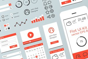 Red & White Flat Mobile Web UI Kit