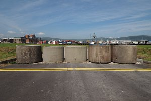 concrete cylinders blocking access t