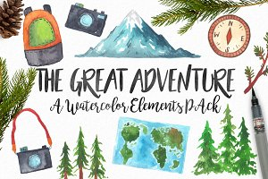 Watercolor Adventure Elements Pack