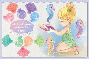 Girl and the sea watercolor clipart
