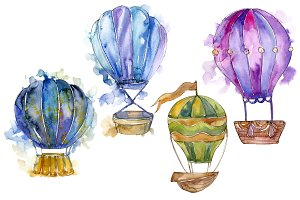 Hot air balloon PNG watercolor set