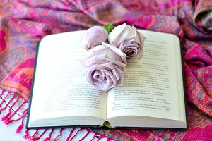 Blush roses on book 2