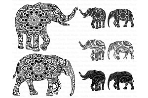 Elephant Mandala SVG, PNG, files.