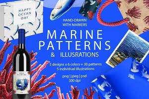 Ocean patterns and illustrations
