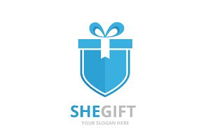 Vector gift and shield logo