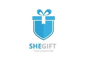 Vector gift and shield logo