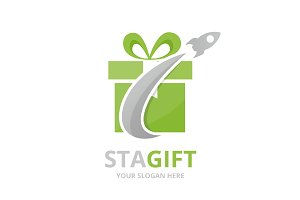 Vector gift and rocket logo
