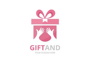 Vector gift and hands logo