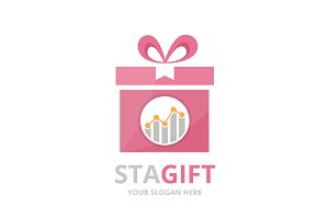Vector graph and gift logo