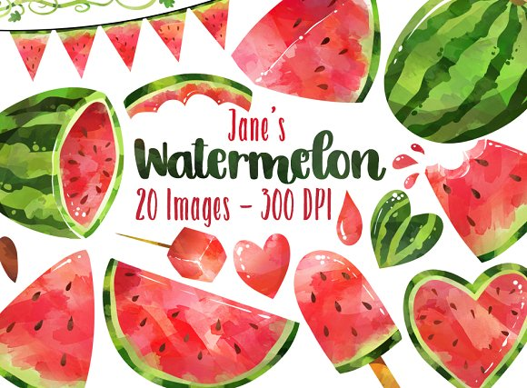 Watercolor Watermelon Clipart