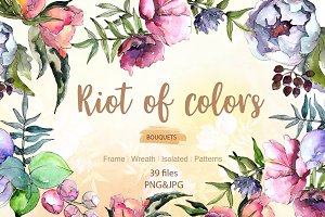 Cool bouquets flowers PNG watercolor