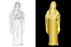 Virgin Mary with baby Jesus set