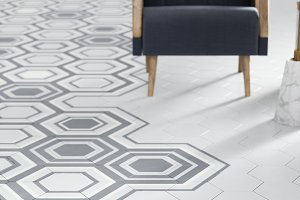 3d render of white floor tile with
