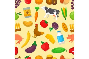 Organic food vector farming or