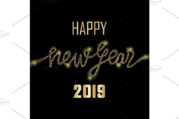 glitter happy new year 2019 illustrations