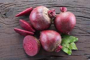 Red beet or beetroot on the wooden t