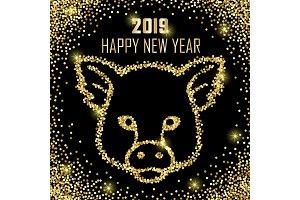 Luxury Golden Glitter Pig Sign