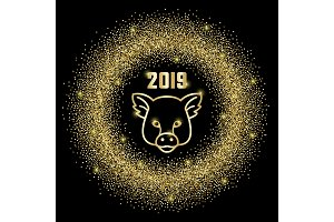 Glitter Frame 2019 and pig sign