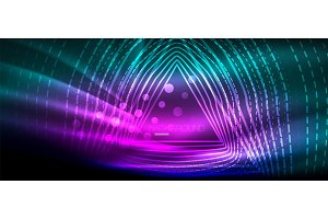 Neon glowing wave, magic energy and