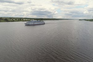 Cruise ship on the river Aerial view