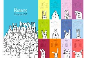 Funny rabbits. Design calendar 2019