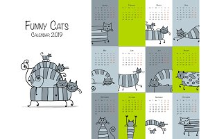 Funny striped cats. Design calendar