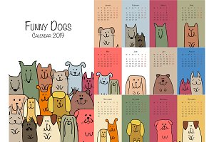 Funny dogs, calendar 2019 design