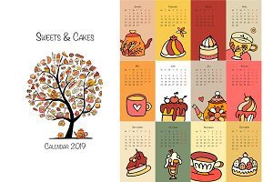 Cakes and sweets, calendar 2019